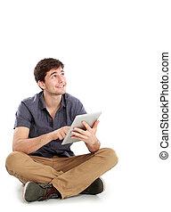 jeune homme, utilisation, pc tablette