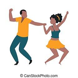 jeune, illustration, heureux, ensemble., vacances, fête, homme, danse, ou, paire, isolé, carnaval, couple, event., gens, vecteur, dancers., célébrer, disco, gai, musique, festival., femme