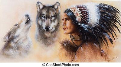 jeune, indien, peinture, guerrier, airbrush, beau