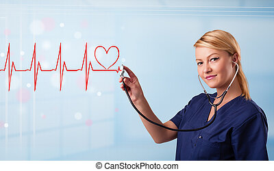 jeune, infirmière, écoute, à, résumé, pouls, à, coeur rouge
