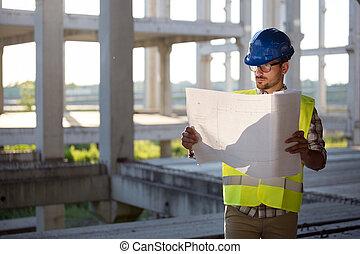 jeune, ingénieur, site, construction, homme affaires