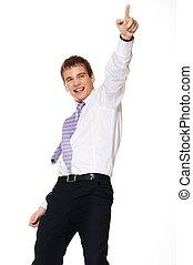 jeune, isolé, fond, homme affaires, blanc, heureux