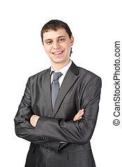 jeune, isolé, fond, homme affaires, sourire, blanc