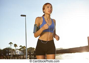 jeune, joggeur, vivant, a, manière vivre saine