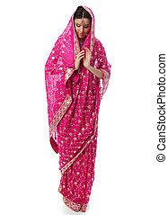jeune, joli, femme, dans, indien, sari, robe
