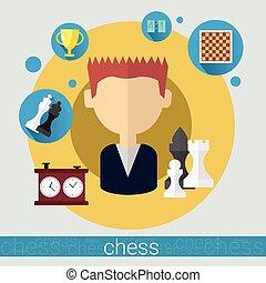 jeune, joueur, jeu, échecs, homme, icône