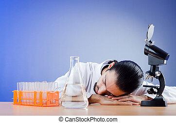 jeune, laboratoire, chimiste