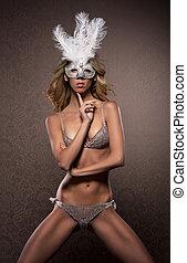 jeune, lingerie, fond, érotique, masque, femme, luxe, sur,...