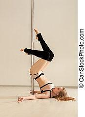 jeune,  Lingerie, poser,  sexy,  girl,  poledance