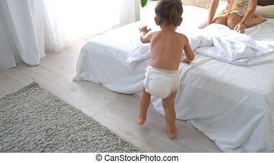 jeune, lit, matin, maman, chambre à coucher, fils