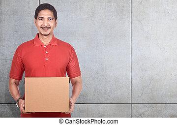 jeune, livraison, boîtes, asiatique, tenue, carton, homme
