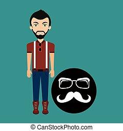 jeune, long, hipster, lunettes, moustache, homme
