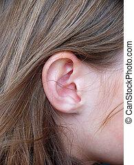 jeune, longs cheveux, adolescent, girl, closeup, oreille, caucasien