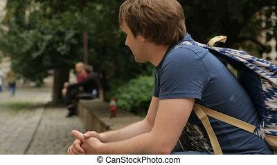 jeune, mâle, touriste, sofia, rue