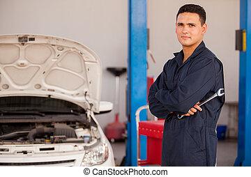 jeune, mécanicien, à, une, auto, magasin