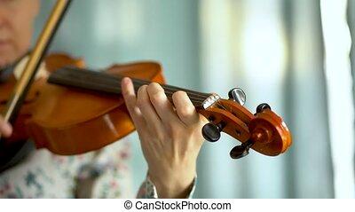 jeune, main, femme femelle, violin., violon, jouer, fingerboard, violiniste
