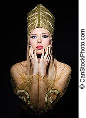 jeune, modèle, personnification, beauté, égyptien