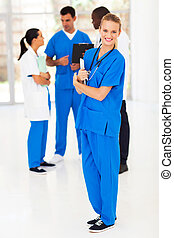 jeune, monde médical, infirmière, et, collègues