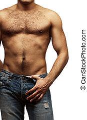 jeune, musculaire, sans chemise, homme
