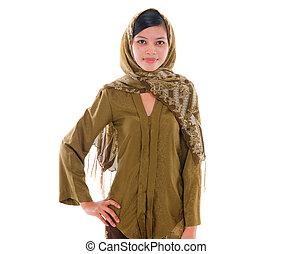 jeune, musulman, femme, à, robe traditionnelle, blanc, fond