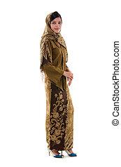 jeune, musulman, femme, traditionnel, kebaya, blanc, fond, corps plein