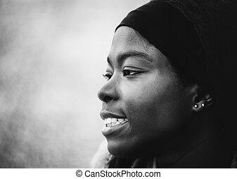 jeune, noir, africaine, portrait, blanc, woma
