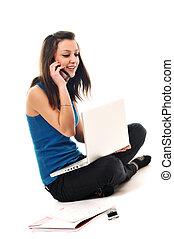jeune, ordinateur portable, travail, isolé, fille, blanc