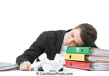 jeune, ouvrier, s'asseoir bureau, et, sleeping., fatigué,...