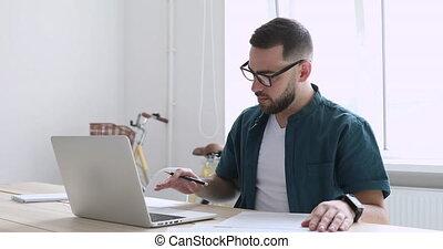 jeune, paperwork., informatique, fonctionnement, travailleur...