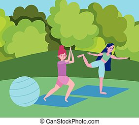 jeune, parc, filles, balle, crise, dessin animé, yoga, ...