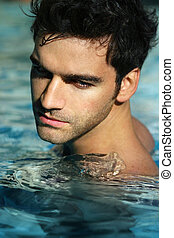 jeune, piscine, homme