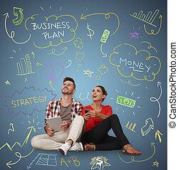 jeune,  plan, créer,  Business, gens