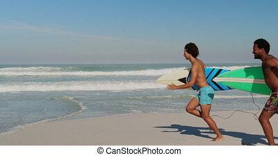 jeune, planche surf, 4k, courant, amis