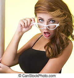 jeune, portrait, lunettes, femme