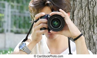 jeune, prendre, mâle, beau, photographie, photographe