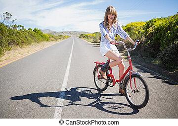 jeune, quoique, vélo, poser, équitation, modèle, sourire
