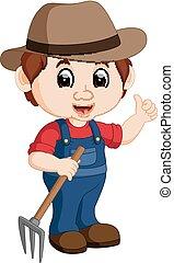 jeune, râteau, dessin animé, tenue, paysan