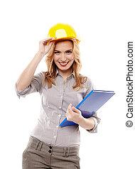 jeune, réussi, femme, ingénieur, porter, protection, casque, et, tenue, a, construction, plan, isolé, blanc, fond