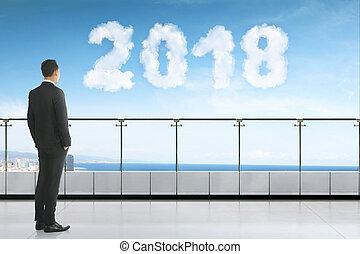 jeune regarder, forme, asiatique, homme affaires, nuage, 2018