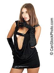 jeune, robe noire, femme, beau