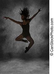 jeune, rue, danseur, saut, mi air