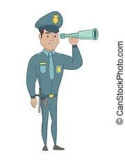 jeune, sécurité, contrôler, spyglass., policier