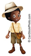 jeune, safari, garçon, blanc, fond