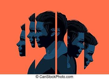 jeune, santé, homme, mental, concept