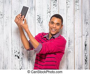 jeune, selfies, studio, confection, beau, homme