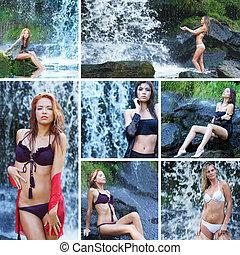 jeune, sexy, femmes, près, les, chute eau