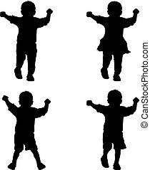 jeune, silhouettes, arrière-plan noir, blanc, enfants