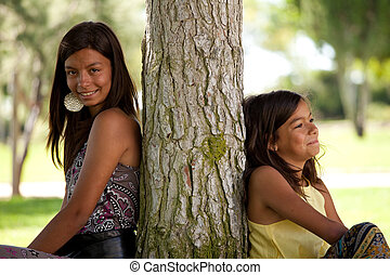 jeune, soeurs, à, les, parc