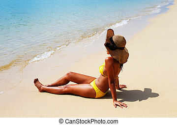 jeune, soleil baigne, femme