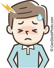 jeune, souffrance, homme, mal tête